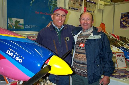 Renee Huquet and Jacque Paysant-le Roux (CPLR's Dad) next to mammoth TOC aerobat powered by a 150cc motor. Renee is founder of Cherbourg Model Express.