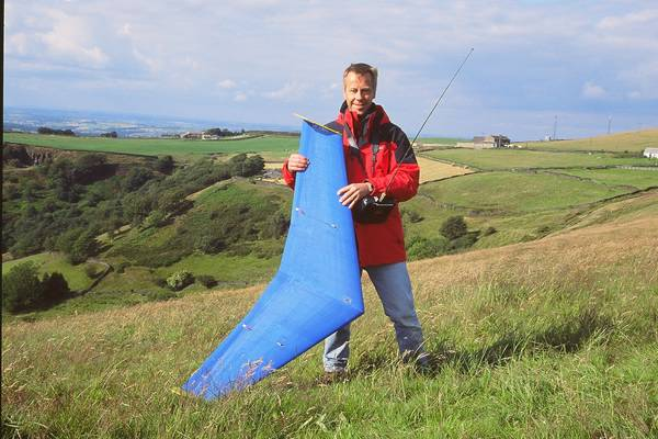 "Huddersfield: Dave Elam with Skirmish Type R, 60"" EPP sport/racer"