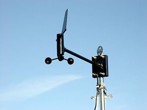 Anemometer and direction data are transmitted to Ipaq.