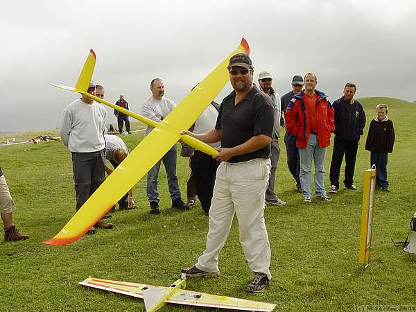 A delighted Terry Gravener with his raffle win - an X-Models Blade generously donated by Southcoast Sailplanes