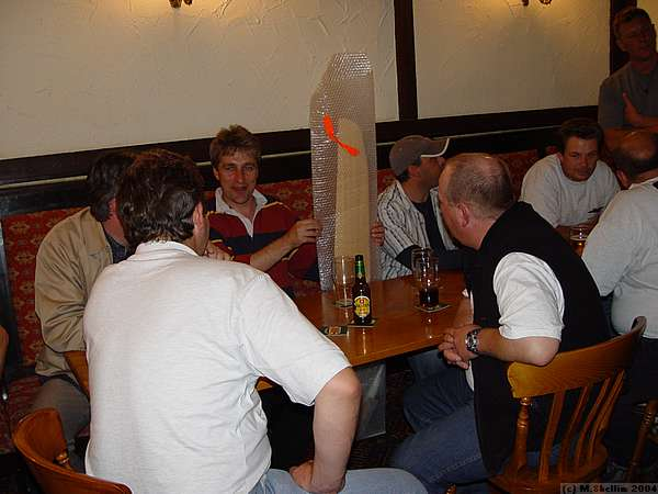 At the Haywain on Saturday night. The white tee shirt belongs to John McCurdy.