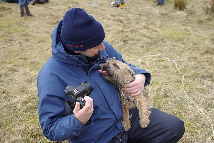 Mike Evans chews the F3F cud with his canine friend.