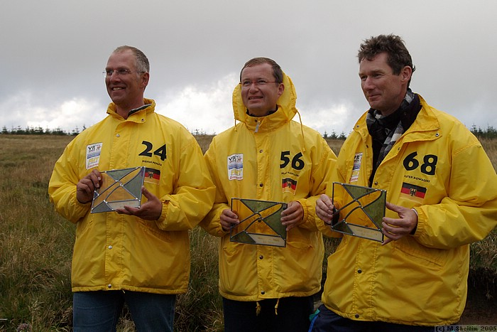 Team prize for SAF: Dieter Perlick, Klaus and Peter Kowalski. Stained glass trophies designed by Sarah Ayling.