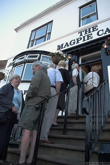 Queue waiting to enter the Magpie Cafe, one of the best chip shops in Whitby.