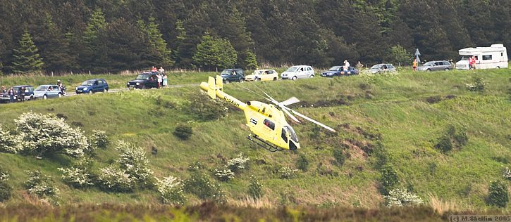 An accident at the Saltersgate hairpin brought in a rescue helicopter.