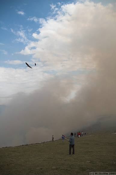 A controlled brush fire meant lots of smoke and some interruption.