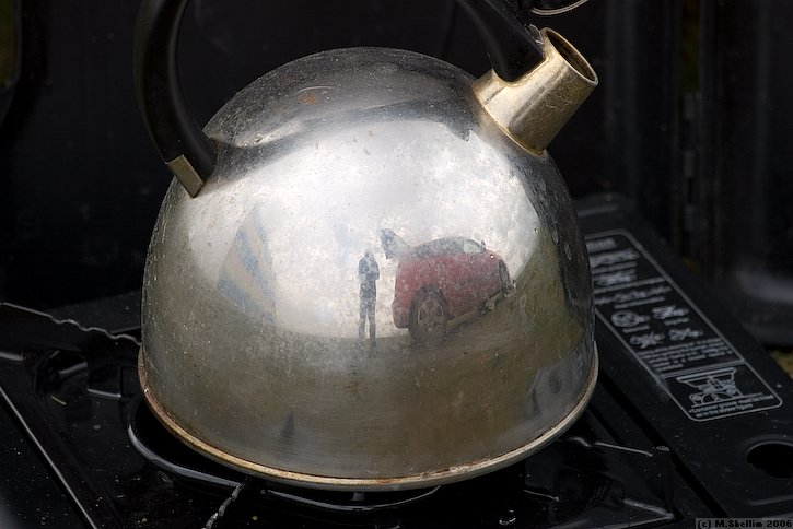 Mike Evans brought natty camping stove and kettle