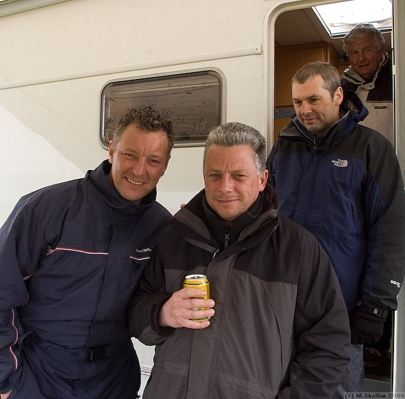 Mark Abbotts, Ken Woodhouse, Mike Evans and Tom MacPherson outside Ken's motorhome