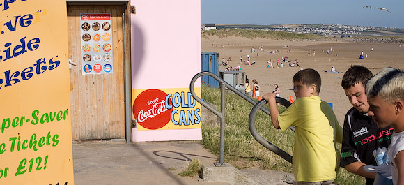 Behind Porthcawl beach are lots of stalls and attractions