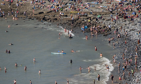The beach at Southerndown was packed