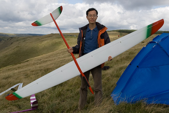 DAY 1 - MICKEY'S SLOPE: The HK team made a welcome return visit, and flew well too. Here's C.M. Cheng with Extreme designed by Norbert Habe and manufactured by Milan Demcisak (who also makes the Skorpion and Demo).