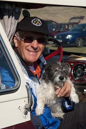 Derek Warner brought along his 50 year old Bedford van and dog