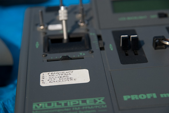 Checklist on my MPX 4000 transmitter. Note stick ends from old Futaba Conquest.