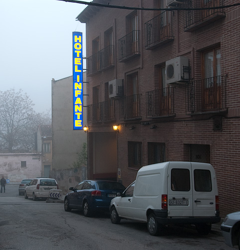 Our hotel, in mist