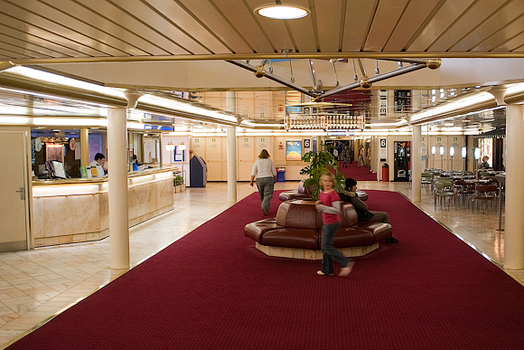 Reception area, Deck 6, 'Pride of Bilbao'. Travelling on the boat is very much part of the fun.
