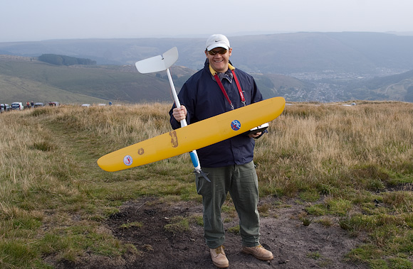 John Sage with his E-Mini Ellipse. Unfortunately the motor came in rather handy.
