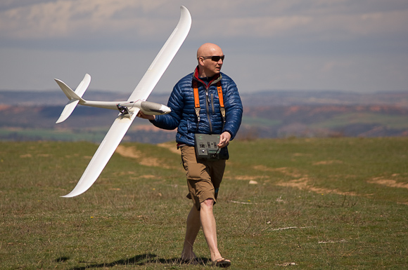 Down to business. Kevin with his Easy Glider.