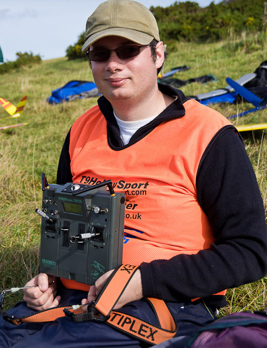 TECH CORNER: Nigel Potter with his MPX 3030 transmitter converted to 2.4 GHz using an ACT dual rf module. Nigel was very happy with the ACT module, having tested it extensively in F5B. And you dont get much more demanding than that!