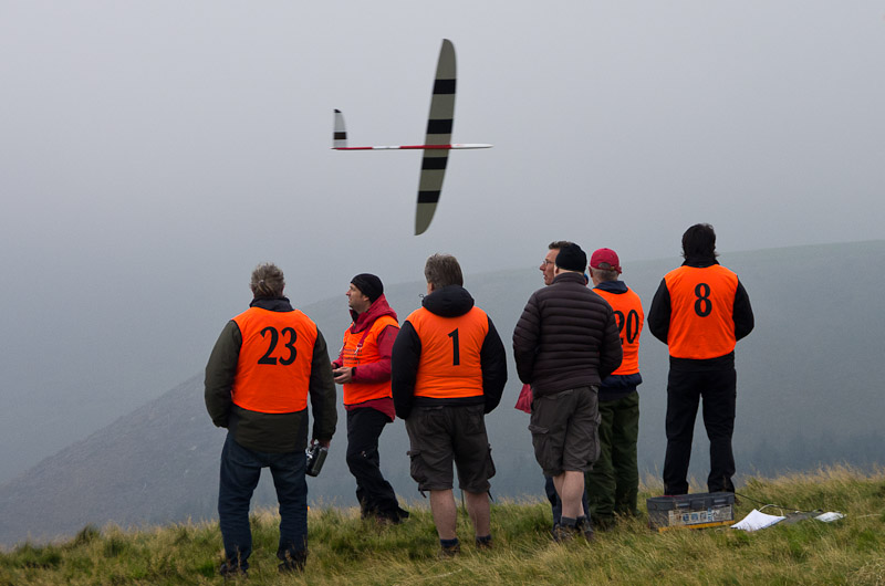 Day 1. Low cloud delayed the start. But it didn't stop the sport flying, despite at least one momentary disappearance.
