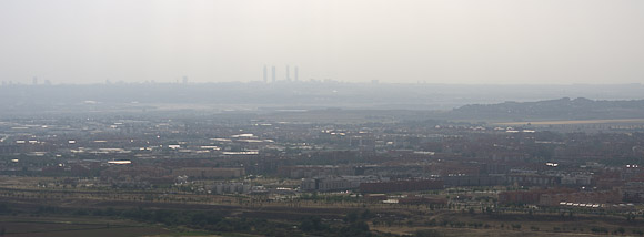 The view from El Viso towards Madrid. The airport is just below the office towers.